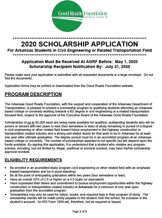 Civil Engineering Scholarship Application