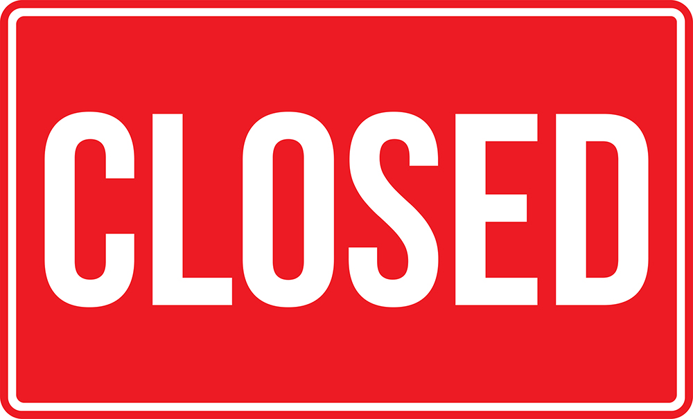 Closed Sign. White On Red Background. Business Concepts. Used As