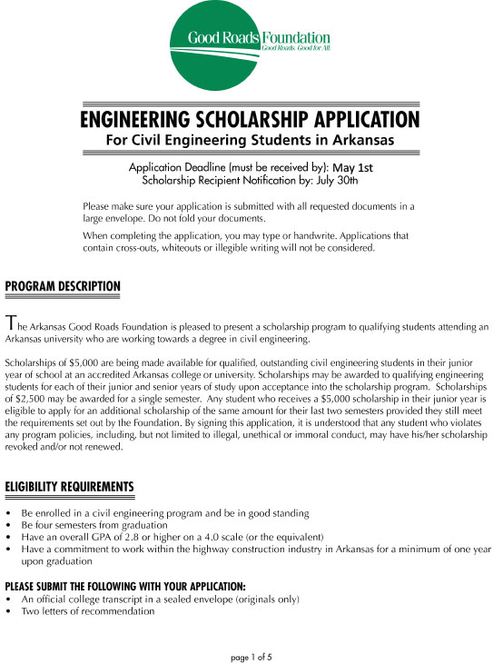 Civil Engineering Scholarship Application